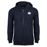 Navy Fleece Full Zip Hoodie-Interlocking SU