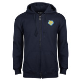 Navy Fleece Full Zip Hoodie-Jaguar Head