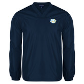 V Neck Navy Raglan Windshirt-Interlocking SU