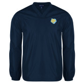V Neck Navy Raglan Windshirt-Jaguar Head