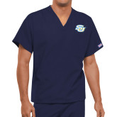 Unisex Navy V Neck Tunic Scrub with Chest Pocket-Interlocking SU