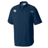 Columbia Tamiami Performance Navy Short Sleeve Shirt-Jaguar Head