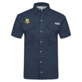 Columbia Tamiami Performance Navy Short Sleeve Shirt-The Human Jukebox Official Mark