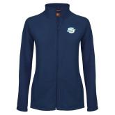 Ladies Fleece Full Zip Navy Jacket-Interlocking SU