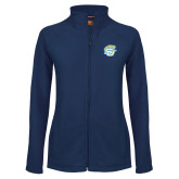 Ladies Fleece Full Zip Navy Jacket-SU w/ Jaguar
