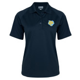 Ladies Navy Textured Saddle Shoulder Polo-Jaguar Head