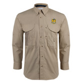 Khaki Long Sleeve Performance Fishing Shirt-Fabulous Dancing Dolls Official Mark