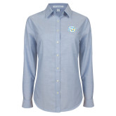 Ladies Light Blue Oxford Shirt-Interlocking SU