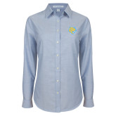 Ladies Light Blue Oxford Shirt-Jaguar Head