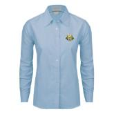 Ladies Light Blue Oxford Shirt-The Human Jukebox Official Mark