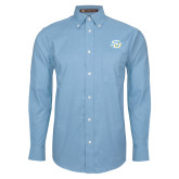Mens Light Blue Oxford Long Sleeve Shirt-Interlocking SU