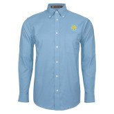 Mens Light Blue Oxford Long Sleeve Shirt-Jaguar Head