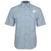 Light Blue Short Sleeve Performance Fishing Shirt-Interlocking SU