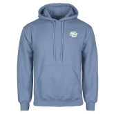 Light Blue Fleece Hoodie-Interlocking SU
