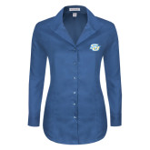 Ladies Red House Deep Blue Herringbone Non Iron Long Sleeve Shirt-Interlocking SU