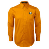 Gold Twill Button Down Long Sleeve-The Human Jukebox Official Mark