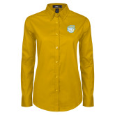 Ladies Gold Twill Button Down Long Sleeve-SU w/ Jaguar