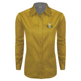 Ladies Gold Twill Button Down Long Sleeve-The Human Jukebox Official Mark