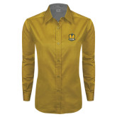Ladies Gold Twill Button Down Long Sleeve-Fabulous Dancing Dolls Official Mark