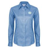 Ladies Red House Light Blue Long Sleeve Shirt-Interlocking SU