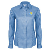 Ladies Red House Light Blue Long Sleeve Shirt-Jaguar Head