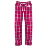 Ladies Dark Fuchsia/White Flannel Pajama Pant-The Human Jukebox Official Mark