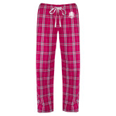 Ladies Dark Fuchsia/White Flannel Pajama Pant-Fabulous Dancing Dolls Official Mark