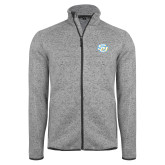Grey Heather Fleece Jacket-Interlocking SU