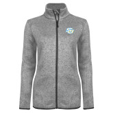 Grey Heather Ladies Fleece Jacket-Interlocking SU