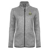Grey Heather Ladies Fleece Jacket-The Human Jukebox Official Mark