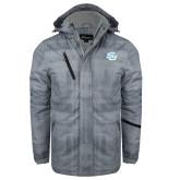 Grey Brushstroke Print Insulated Jacket-Interlocking SU