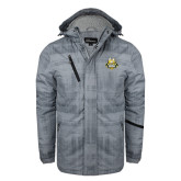 Grey Brushstroke Print Insulated Jacket-The Human Jukebox Official Mark