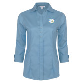 Ladies Red House Light Blue 3/4 Sleeve Shirt-Interlocking SU