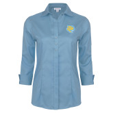 Ladies Red House Light Blue 3/4 Sleeve Shirt-Jaguar Head