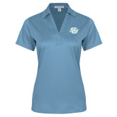 Ladies Light Blue Performance Fine Jacquard Polo-Interlocking SU