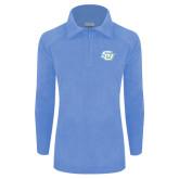 Columbia Ladies Half Zip Light Blue Fleece Jacket-Interlocking SU