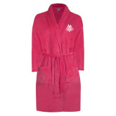 Ladies Pink Raspberry Plush Microfleece Shawl Collar Robe-The Human Jukebox Official Mark