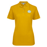 Ladies Easycare Gold Pique Polo-Interlocking SU