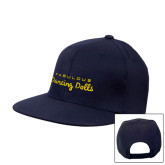 Navy Flat Bill Snapback Hat-Fabulous Dancing Dolls Wordmark