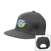 Charcoal Flat Bill Snapback Hat-Interlocking SU