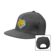 Charcoal Flat Bill Snapback Hat-Jaguar Head