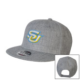 Heather Grey Wool Blend Flat Bill Snapback Hat-Interlocking SU