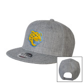 Heather Grey Wool Blend Flat Bill Snapback Hat-Jaguar Head