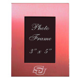 Pink Brushed Aluminum 3 x 5 Photo Frame-Interlocking SU Engraved