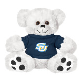 Plush Big Paw 8 1/2 inch White Bear w/Navy Shirt-Interlocking SU