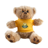Plush Big Paw 8 1/2 inch Brown Bear w/Gold Shirt-The Human Jukebox Official Mark