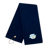 Navy Golf Towel-Interlocking SU