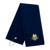 Navy Golf Towel-The Human Jukebox Official Mark