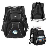 High Sierra Swerve Black Compu Backpack-Interlocking SU