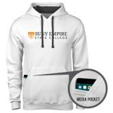 Contemporary Sofspun White Hoodie-Primary Logo Flat